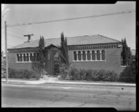 School to church (?) after the Long Beach earthquake, Southern California, 1933