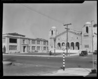 Polytechnic High School auditorium after the earthquake, Long Beach, 1933