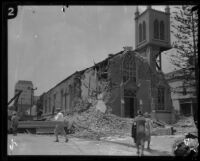 Earthquake-damaged Our Lady of Sorrows Church, Santa Barbara, 1925