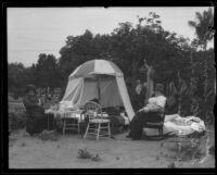People living outside after the earthquake, Santa Barbara, 1925