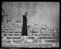 Brother Michael Lamm on the steps of the Santa Barbara Mission Church after the earthquake, 1925