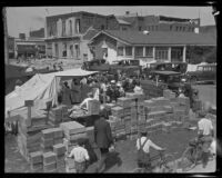 Temporary food aid center after the earthquake, Santa Barbara, 1925
