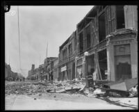 Earthquake-damaged commercial buildings on State Street, Santa Barbara, 1925