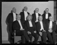 Albert Einstein at Caltech tribute dinner with James R. Page, Russell H. Ballard, Allan C. Balch, Dr. R. C. Tolman, Dr. Robert A. Millikan, Jacob Gould Schurman, and Charles A. Beard, Pasadena, 1932