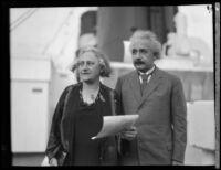 Albert Einstein and Elsa Einstein arriving by ship, San Diego, 1930