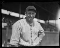 """Ross """"Brick"""" Eldred at baseball field when he played for the Seattle Indians, 1920-1928"""