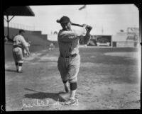 """Ross """"Brick"""" Eldred at baseball field, 1920-1928"""
