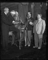 Postmaster-General Farley is initiated into the Breakfast Club at the Ambassador Hotel, Los Angeles, 1934