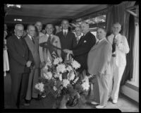 Postmaster-General Farley, Mayor Shaw, Senator McAdoo and others at Breakfast Club meeting, the Ambassador, Los Angeles, 1934