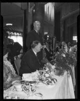 Postmaster-General Farley speaking at Breakfast Club meeting, the Ambassador, Los Angeles, 1934