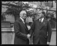 Governor of Hawaii, Wallace R. Farrington and Avertising Club president, Paul S. Armstrong at the Biltmore, Los Angeles, 1927