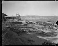 Onlookers observe National Forest Inn ruins following fire, California, 1932