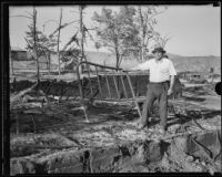 M. D. Martin, proprietor of the National Forest Inn following its destruction by a fire, California, 1932