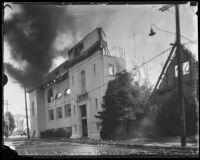First Baptist Church of Hollywood ablaze, Hollywood, 1935