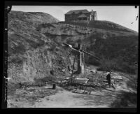 Ruins of home destroyed by the Sunset Canyon fire, Los Angeles, 1927