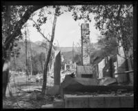 Ruins of homes destroyed by the Sunset Canyon fire, Los Angeles, 1927