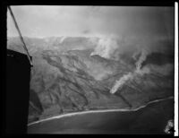 Aerial view of Malibu Mountains fire, Malibu, 1930