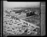 Copy negative of an aerial photograph of the Firestone factories in Akon, Ohio, 1927