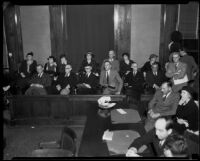 Jurors at the Los Angeles Country Grand Jury trial for District Attorney Buron Fitts, Los Angeles, 1934