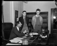 District attorney Buron fitts and accused youths, Los Angeles, 1933