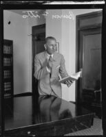 Distric Attorney Buron Fitts in oration, Los Angeles, 1928-1939