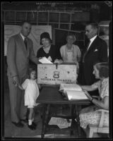 Buron Fitts and family cast their votes, Los Angeles, 1929-1933