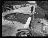 Section of road washed out by rainstorm, [Los Angeles County?], 1926