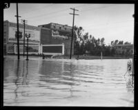 Rain-flooded intersection of Sixth Street and Catalina Streets, Los Angeles, 1927