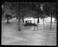 Automobile trapped in flood in Laurel Canyon, Los Angeles, 1927