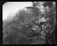 Cottage washed from its foundation in Laurel Canyon, Los Angeles, 1927