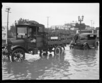 West First St. and Juanita Ave. flooded by a rainstorm, Los Angeles, 1927