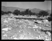 Landscape with mud and rocks following a devastating flood and mudslide, La Crescenta-Montrose, 1934