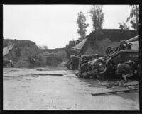 Cars marooned by flood debris outside Bohemian Gardens nightclub, Los Angeles, 1934