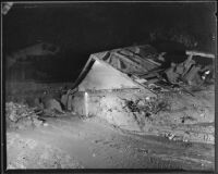 Pitched roof of a house destroyed by a flood, La Crescenta-Montrose, 1934