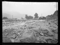 Flood debris on road after heavy rainfall, La Crescenta-Montrose, 1935
