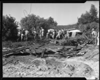 Workers clearing flood debris, La Crescenta-Montrose, 1934