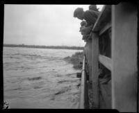 Los Angeles River from the Main Street Bridge during rainstorm flooding, Los Angeles, 1927