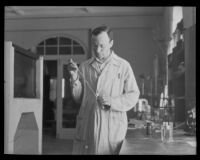 Dr. A. E. Mirsky conducting research at the California Institute of Technology, Pasadena, 1935