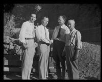 William J. Goss, Lawrence E. Olson, P. T. Primm and Samuel Davis at the site of the new check dams, Glendale, 1935
