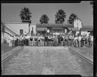 Poolside meeting of the Dunkers Club at the ranch of Eddie Peabody, Riverside, 1935