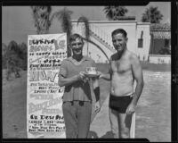 "Eddie Peabody, at his home, receives a ""Dunkers"" club cup and saucer of initiation from club member Dan Huckins, Riverside, 1935"