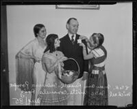 Irish diplomat Michael McWhite with Mary Ann Russell, Minerva Pompa and Consuela Ruiz during the Old Plaza Mission Restoration Fiesta, Los Angeles, 1935