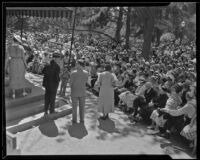 Seated crowd at the annual Iowa Association picnic at Bixby Park, Long Beach, 1935