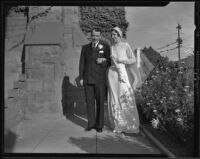 Janice Harker and Reverend Hu C. Noble on their wedding day at  First Presbyterian Church, Los Angeles, 1935