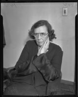 Adeline Shorb, upon release from Lincoln Heights jail for using a fictitious name to obtain relief, Los Angeles, 1935