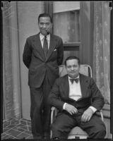 Prince Mohamed Aly Ibrahim and his secretary Ali Hassan El-Borai at the Ambassador Hotel during a visit, Los Angeles, 1935