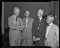 British Medical Association officers G. C. Anderson, E. Kaye Le Fleming, Bishop Harman and H. G. Dain at the L. A. Medical Assn. for lunch, Los Angeles, 1935