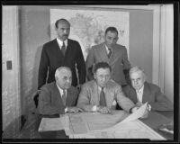 State, Federal and county relief executives confer on financial crisis, Los Angeles, 1935