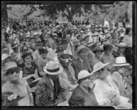 People listening to Congressman and poet laureate John Steven McGroarty at Brookside Park, Pasadena, 1935