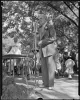 John Steven McGroarty, poet laureate and member of Congress, addresses an audience at a Brookside Park picnic, Pasadena, 1935